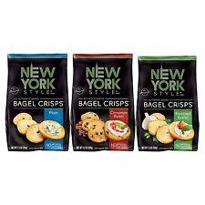 New York Style Bagel Crisps Plain, Garlic, Cinnamon Raisin - (Pack of 3) Conv.