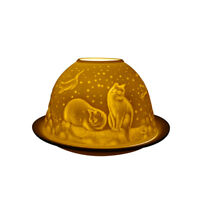 Light-Glow Cats at Night Candle Holder Dome Tealight Holder Dish Home Decor