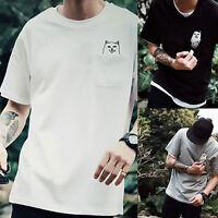 Hot Sale Women Men Middle Finger Pocket Cat T-shirt Summer Short Sleeve Tops Tee