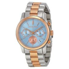 Michael Kors Runway Two Tone Rose Gold Blue Dial MK6166 Chrono Ladies Watch