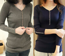 Womens Casual Jumper V Neck Long Sleeve Pullover Tops Knitted Sweater T Shirts