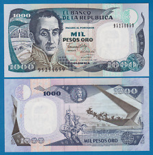 Colombia 1000 Pesos oro P 432 b 1990 UNC Low Shipping! Combine FREE! P 432b