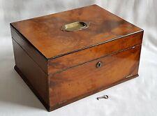 ANTIQUE WALNUT SEWING WORK BOX & JEWELLERY DRAWER - WORKING LOCK & KEY
