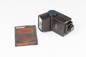 "Vivitar 550FD Auto Thyristor Flashgun. Canon ""A Series"" Dedicated - Good Working"