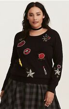 Torrid Size 00 10 Black Embellished Patches Patch Pullover Sweater