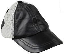 Hommes originales 100% souple cuir noir et Blanc Pré Visière courbe