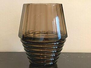 Moser Czech Bohemian Art Deco Faceted Smoky Glass Vase