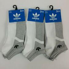 Adidas No Show Socks 9 Pairs (Three 3PK) White/Gray Moisture Wicking Size 6-12