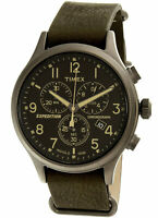 Timex TW4B04100 Expedition Men's Analog Chronograph Watch Green Leather Strap