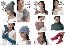 King Cole 4369 Knitting Pattern Hats Scarf Neck Warmers Socks and Gloves
