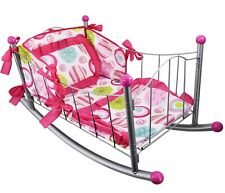 Dolls Cot Bed Rocking Cradle with Pillow Bedding Kids Role Pretend Play, Metal