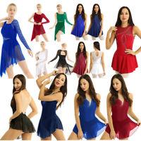 Girls Roller Skating Leotard Skirt Women Contemporary Ballet Dance Dress Costume