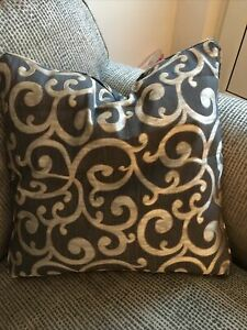 """REDUCED  Cushion Cover 17"""" Ashley Wilde Nidia Designer Fabric Platinum Piped D/S"""