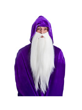 White Deluxe Long Beard Mens Fancy Dress Wizard Gnome Fairytale Accessory New