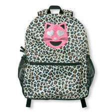 The Children's Place Girls Embellished Love Cat Leopard Print Backpack Nwt