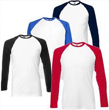 FRUIT OF THE LOOM Longsleeve Baseball Langarm T-Shirt - S M L XL XXL Sport (A)
