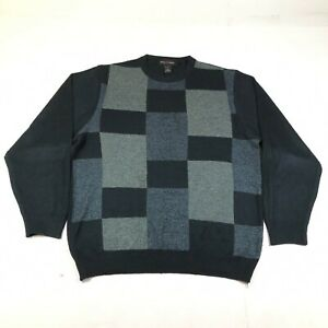Pierre Cardin Pullover Sweater Jumper Mens M Navy Blue Geometric Squares Acrylic