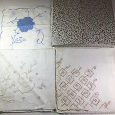 Vintage In Box 3 Embroidered Madiera Nasharr Mid Century Handmade Handkerchiefs