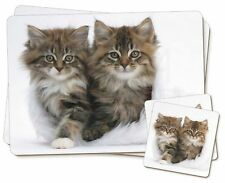 Kittens in White Fur Hat Twin 2x Placemats+2x Coasters Set in Gift Box, AC-189PC