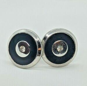 Vintage Swank Black Onyx CZ Round Cufflinks Silver Tone Mens Jewelry Estate