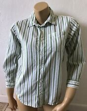 OLD NAVY Womens Size Large Striped Button Front Shirt Long Sleeve Green White