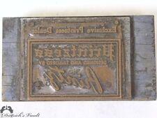 Vintage Printzess Copper Letterpress Advertising Printing Plate