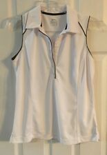 Euc Slazenger Sleeveless White W/ Black Trim 6 Button Golf Polo Top Sz M