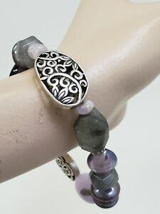 Silpada Sterling Silver Amethyst Purple Canyon Stretch Bracelet Style No B2085