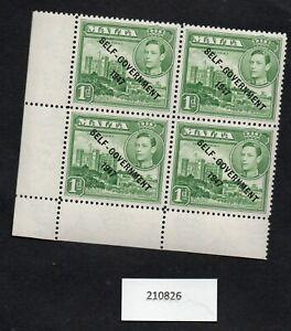 Malta KGVI Margin U/M Block of 4 SG236 1d Green -1948 Self-Government overprint