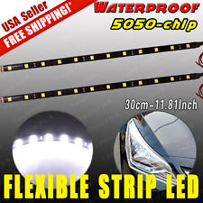 "2x 12"" Flexible LED Strip Light Bar for Car Motor Marine 5050 SMD Waterproof 12V"
