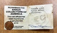 Canada Cent Struck on Split Planchet only .6 gram weight  Error NECA COA