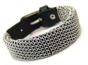 Chain Wrapped Leather Buckle Bracelet Adjustable Surgical Steel Biker Inspired