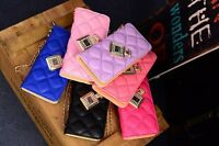 New Quilted Women Fashion PU Leather Girl Wallet Zip Around Purse Lady Handbag