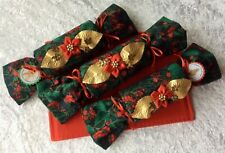 Christmas fabric crackers, set of three, handmade with stand, gorgeous