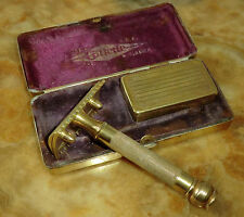 "GILLETTE Rasierhobel OLD TYPE ""Ball End"" Gilette Known the World Over USA golden"