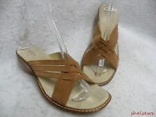 Sonoma Leather Slide Sandals 8.5M Light Brown Woven Leather Free Shipping in USA