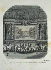 GRAVURE XIXème FETE DE LOUIS XIV DUC DE SAINT-AIGNAN MUSIQUE PARC DE VERSAILLES