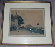 CANADIAN PAINTING WATERCOLOR BY  A. C. LEIGHTON THE VILLAGE SCENE 1930'S