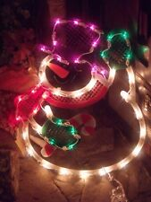 CHRISTMAS OUTDOOR LIGHTED SNOWMAN CANDY CANE SIGN WINDOW YARD LIGHT DECORATION
