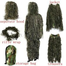 5PCS Ghillie Suit Woodland 3D Camouflage Hunting Shooting Sniper Hiding Clothing