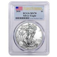 2018 1 oz Silver American Eagle $1 Coin PCGS MS 70 FS (Flag Label) In Stock