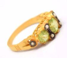 Anelli di lusso con gemme verde in argento sterling misura anello 17