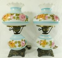PAIR Antique/Vtg Hand Painted ROSES 3-Way Gone With The Wind GWTW Table Lamps
