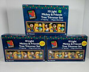 (Lot of 3) Vintage 10 Light Disney 'Mickey & Friends' Christmas Tree Trimmer Set