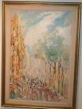 Bastille Day Paris Street Parade 36x24 Impressionist O/C-Bernard Abelew-Listed