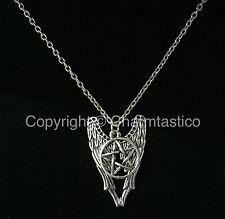 Castiel ANGEL WINGS - Pentagram Pendant - SUPERNATURAL Necklace - UK Stock