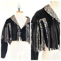 Vintage VTG 1980s 80s Black Silver Metallic Fringed Crop Open Jacket
