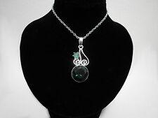 Emerald Green Silver Filigree Crystal Elven Medieval Victorian Pendant Necklace