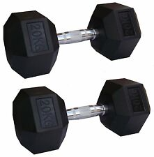 2 x EVINCO 30kg Rubber Encased Hex Hexagonal Dumbbells Pairs Sets Gym Weights