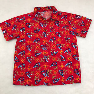 Disney Surfing Mickey Mouse Floral Island Red Hawaiian Shirt YOUTH Size Large